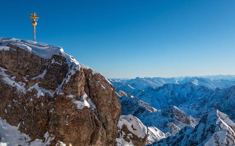 Das Highlight der Ferienregion Zugspitz ist natürlich das Gipfelkreuz